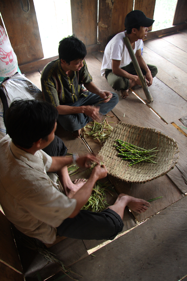 Our porters were gathering bamboo shoot tips as they went, which made a delicious lunch, spent in a cardamom growers hut.