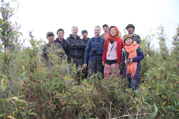 Some of our party gather for a group shot at the very highest point, 2833m asl.